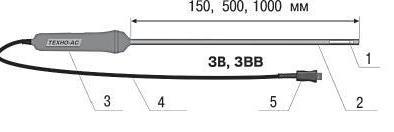 Внешний вид и размеры зонда воздушного ЗВ